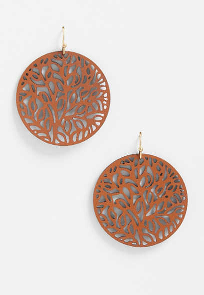 brown cutout faux leather earrings