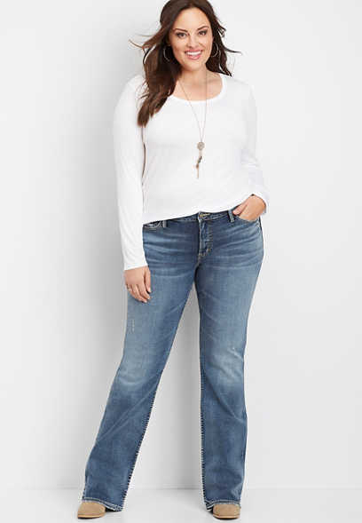 plus size Silver Jeans Co.® Elyse medium wash slim boot jean