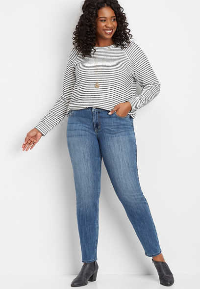 plus size DenimFlex™ medium wash embellished pocket skinny jean