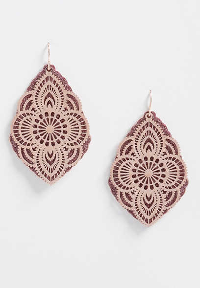 Pink Glitter Overlay Drop Earrings