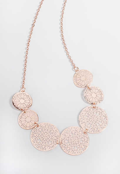 rose gold dainty etched pendant necklace