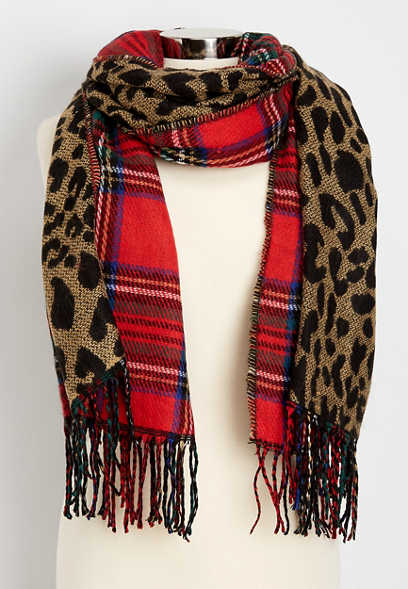 leopard plaid mix oblong scarf