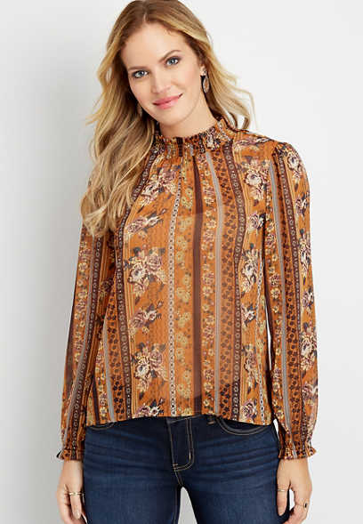 metallic floral high neck sheer blouse