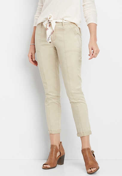 belted scarf crop ankle chino pant