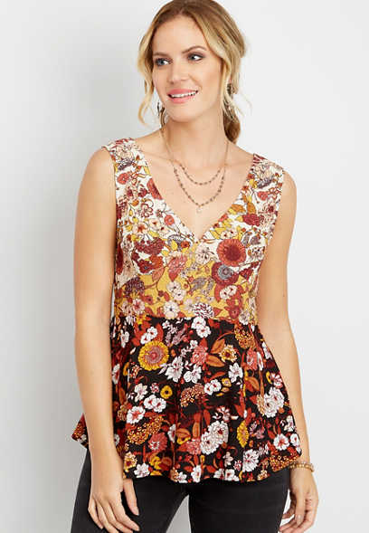 colorblock floral swing tank