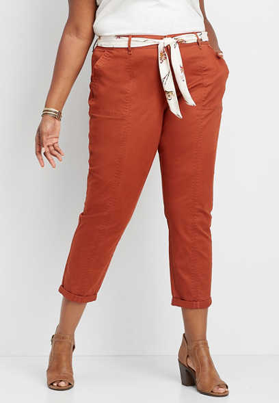 plus size belted scarf crop ankle chino pant