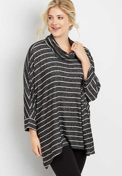 stripe cowl neck tunic pullover