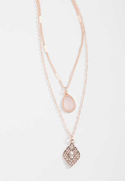 double row rose gold stone drape necklace
