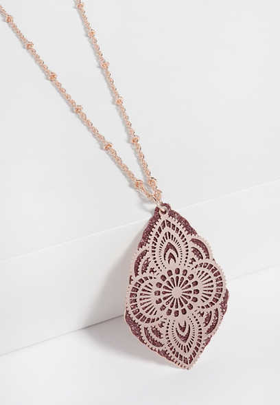 pink glitter overlay pendant necklace