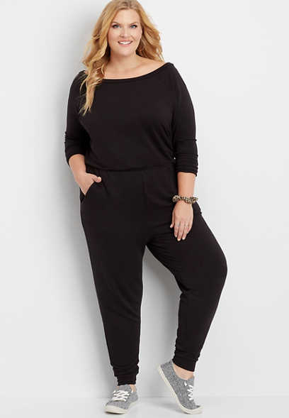 plus size athleisure pocket jumpsuit