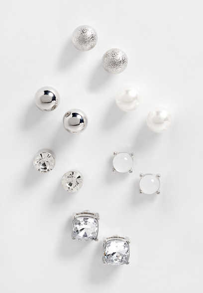 6 piece silver stud earring set