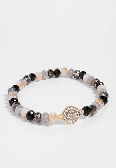 black and gray beaded stretch bracelet