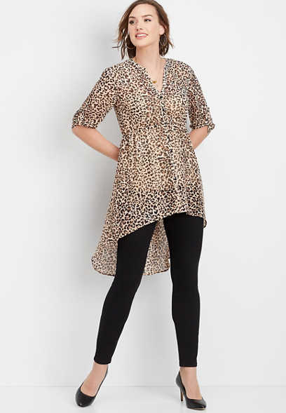 leopard button down high low top