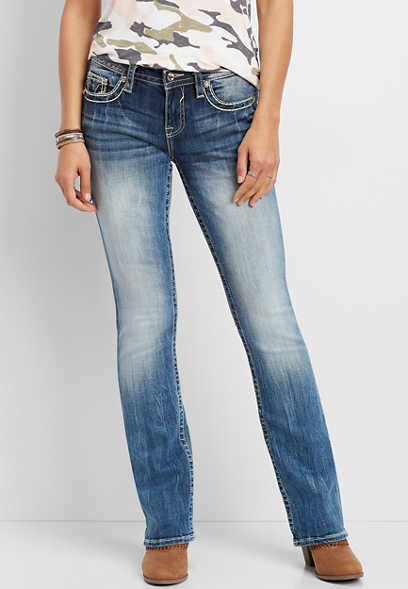 Vigoss® medium wash embellished pockets slim boot jean