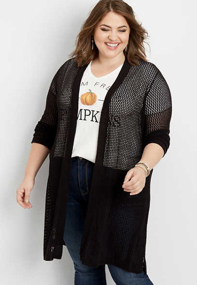 plus size open stitch duster cardigan