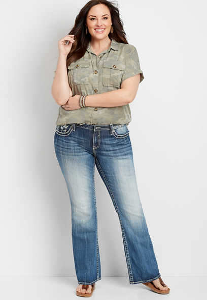 plus size Vigoss® medium wash embellished pockets slim boot jean