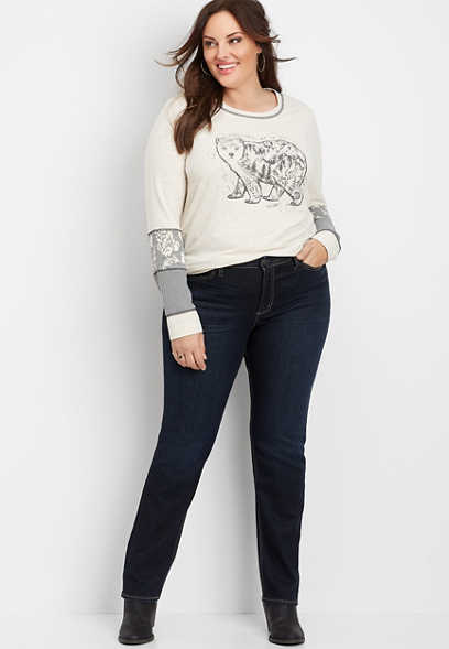 Plus Size Silver Jeans Co.® Avery High Rise Dark Straight Leg Jean