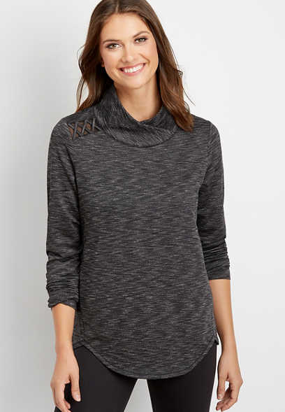 active cowl neck pullover