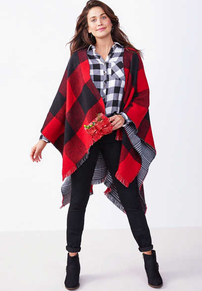 reversible plaid blanket ruana
