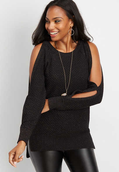 cold shoulder sparkle pullover