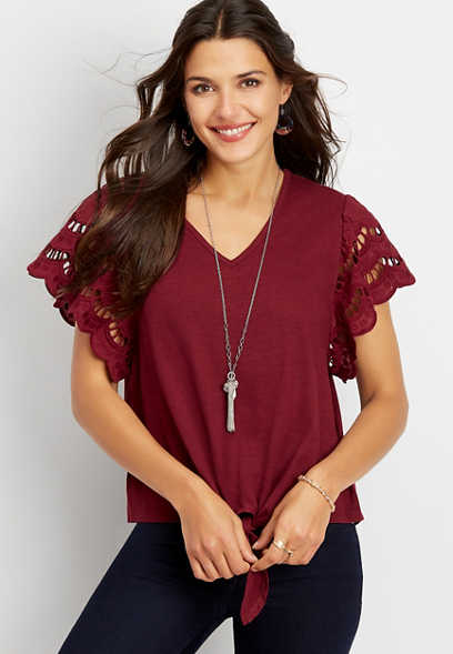 crocheted sleeve v-neck top
