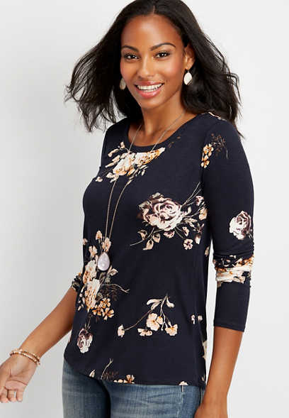 24/7 floral long sleeve layering tee