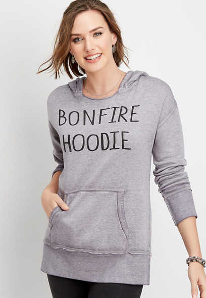 bonfire graphic pullover hoodie
