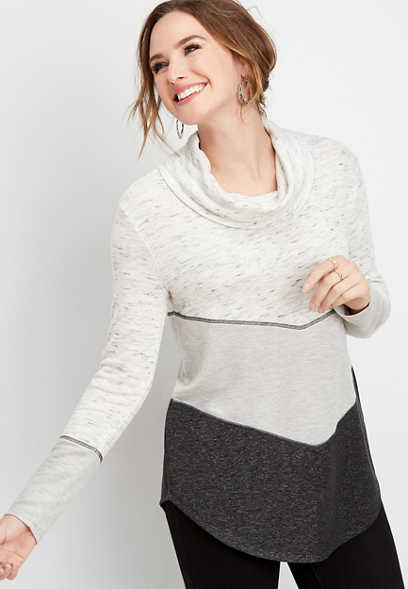chevron colorblock cowl neck pullover