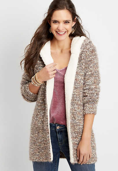 sherpa trim eyelash hooded cardigan