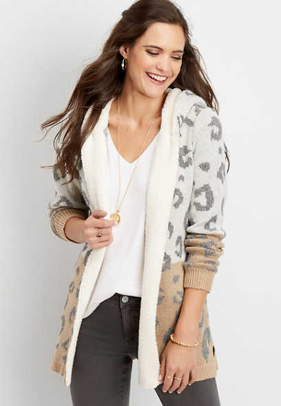 animal print sherpa trim cardigan