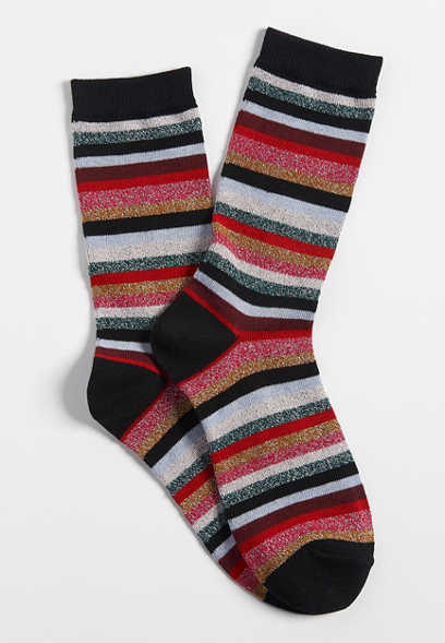 glitter stripe crew socks