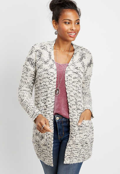 boucle pocket open front cardigan