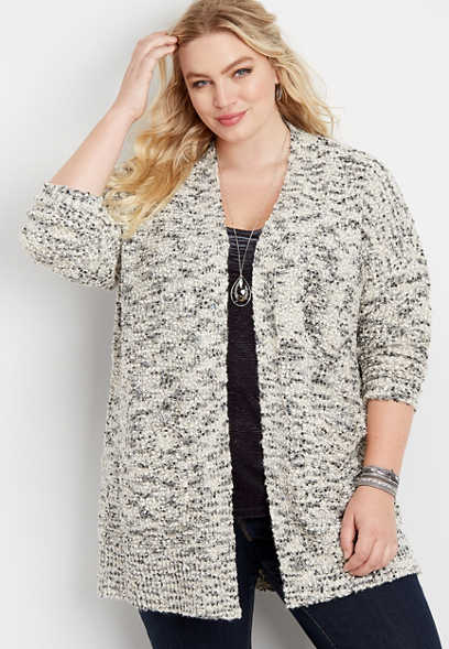 plus size boucle pocket open front cardigan