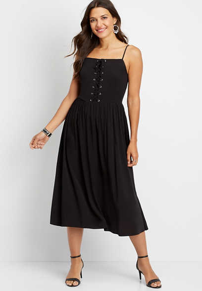 solid lace up midi dress