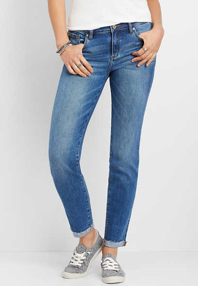 KanCan™ cuffed slim stretch straight leg jean