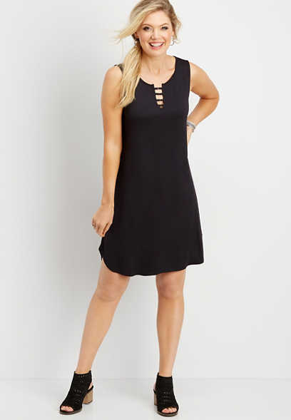 24/7 solid strappy neck t-shirt dress