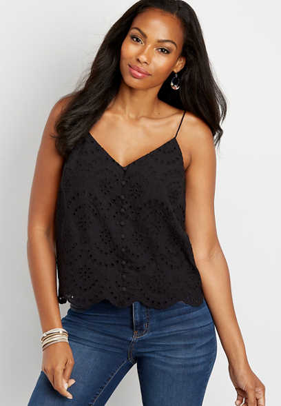 solid eyelet button down cami