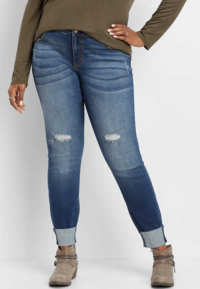 Plus Size KanCan™ Destructed Cuffed Skinny Jean