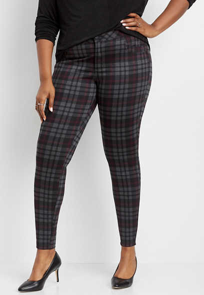 plus size plaid ponte knit skinny ankle pant