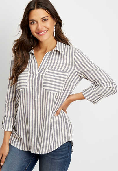 stripe long sleeve pocket blouse