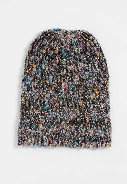 marled sequin hat