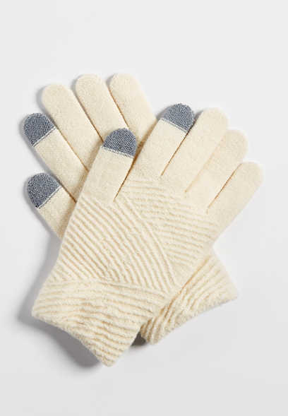 solid tech finger knit glove