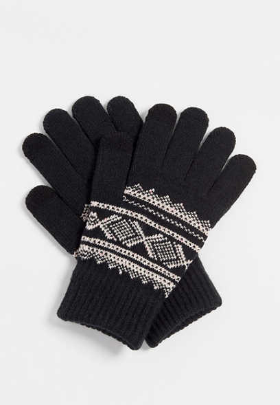fair isle tech finger knit glove