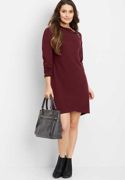 zip neck tulip hem dress
