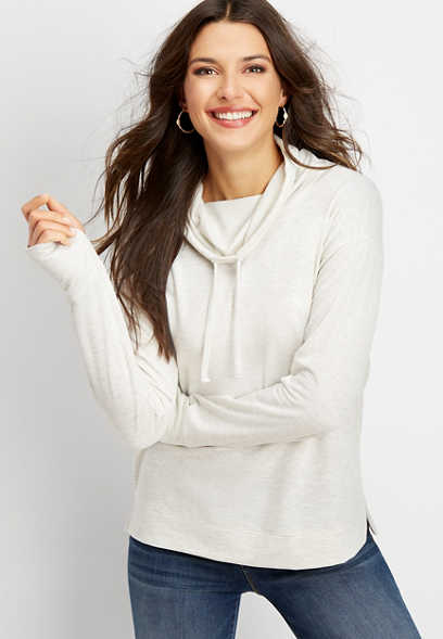 solid cowl neck pullover