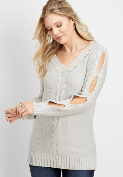 cut out sleeve tunic pullover