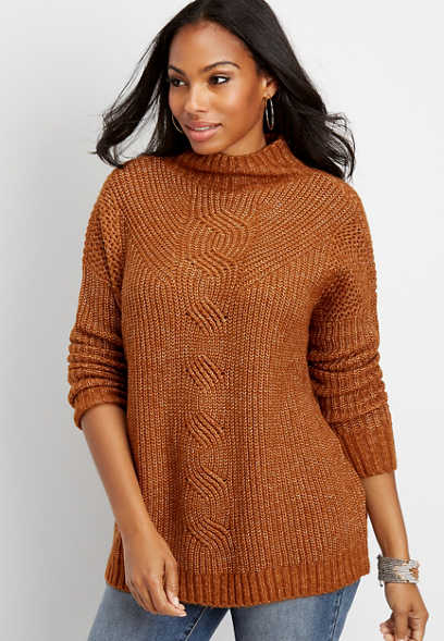 oversized cable knit mock neck pullover