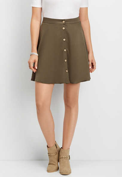 solid button front pull on skirt