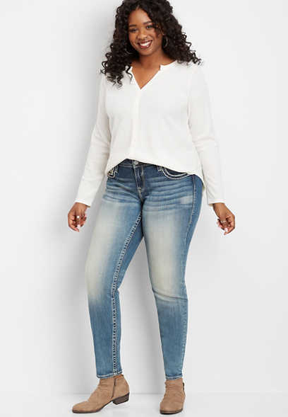plus size Vigoss® pink stitch pocket skinny jean