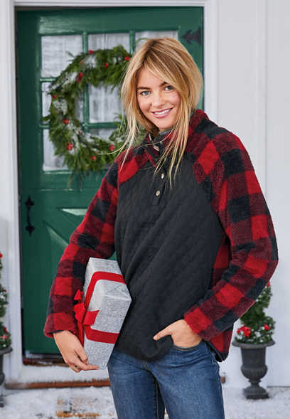 buffalo plaid quilted front sherpa pullover